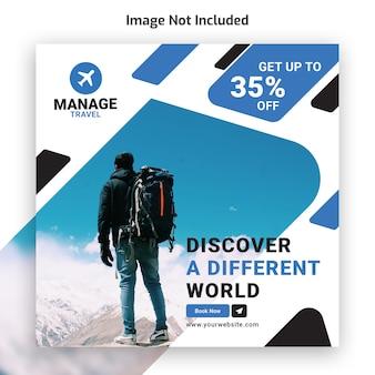 Modello di banner instagram tour di viaggio