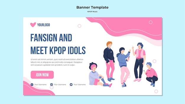 Modello di banner k-pop illustrato