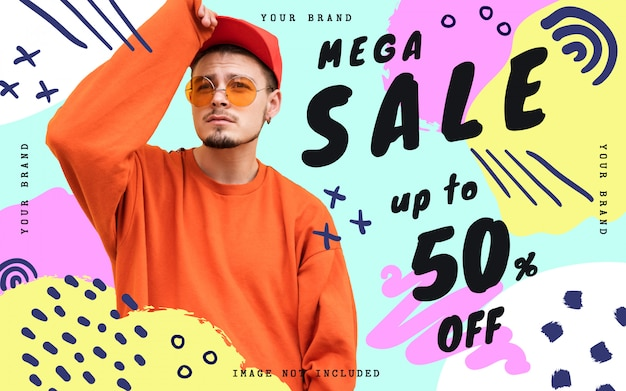 Modello di banner mega vendita con scarabocchi