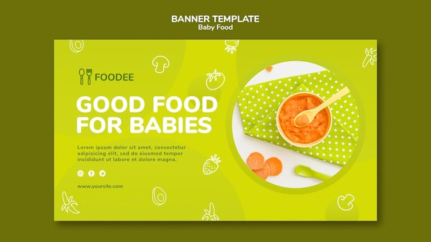 Modello di banner orizzontale di alimenti per bambini