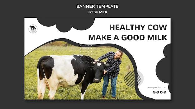 Modello di banner orizzontale di latte fresco