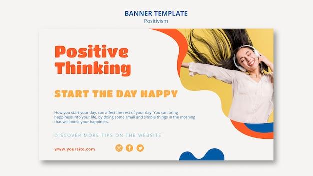 Modello di banner orizzontale pensiero positivo