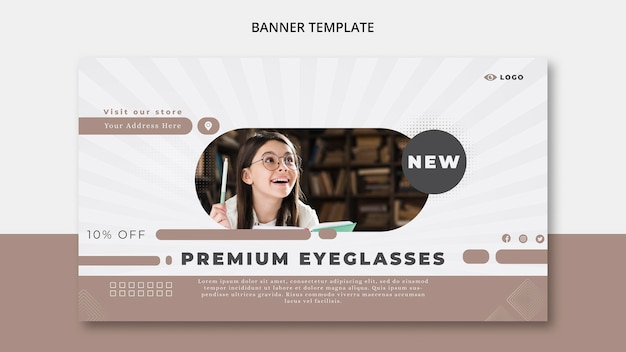Modello di banner orizzontale per azienda di occhiali da vista