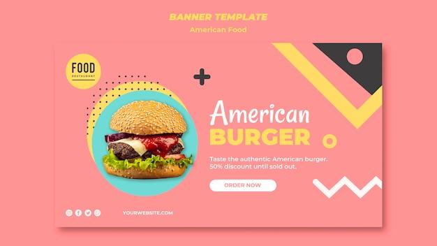 Modello di banner orizzontale per cibo americano con hamburger