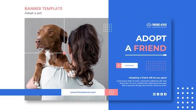 Modello di banner orizzontale per l'adozione di un animale domestico con il cane