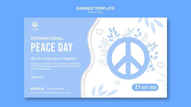 Modello di banner orizzontale per la giornata della pace
