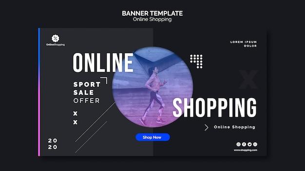 Modello di banner orizzontale per lo shopping online athleisure