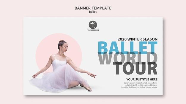 Modello di banner orizzontale per performance di balletto