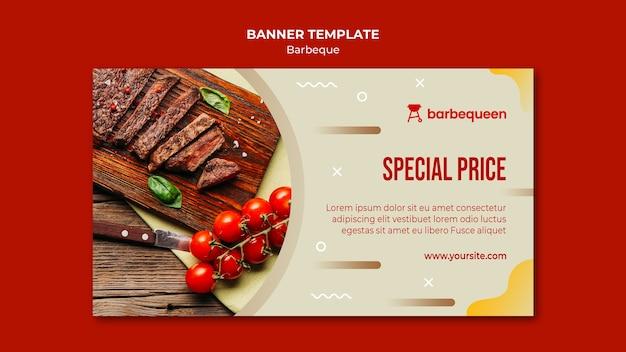 Modello di banner orizzontale per ristorante barbecue