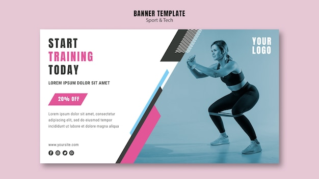 Modello di banner orizzontale per sport e fitness