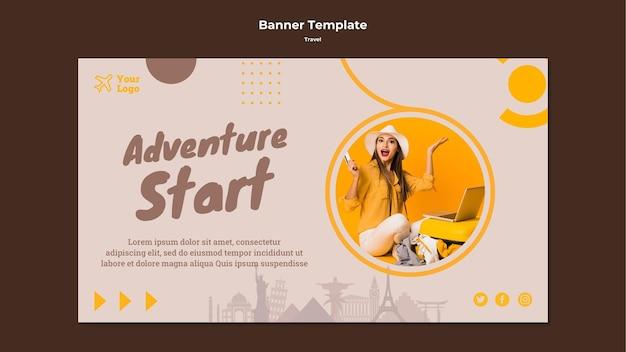 Modello di banner orizzontale per viaggiare tempo di avventura