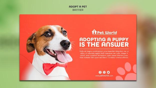 Modello di banner per adozione di animali domestici con il cane