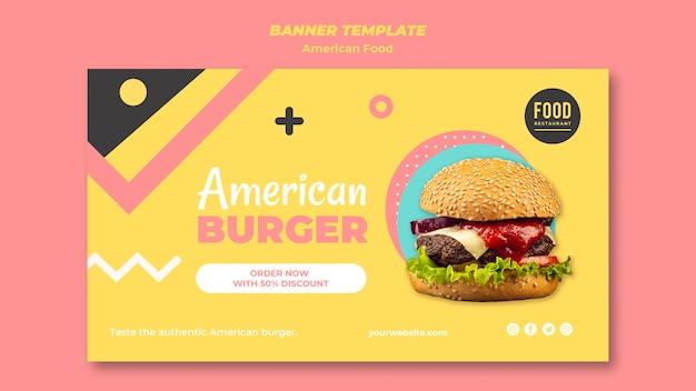 Modello di banner per cibo americano con hamburger