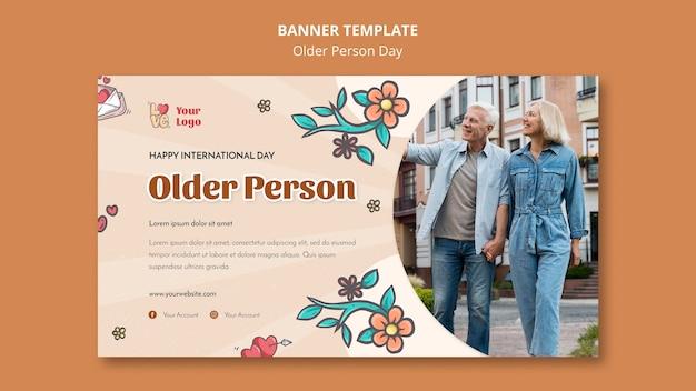 Modello di banner per l'assistenza e la cura delle persone anziane