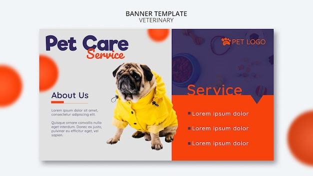 Modello di banner per la cura degli animali domestici con il cane