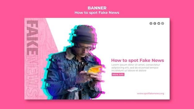 Modello di banner per lo spotting di notizie false