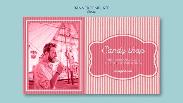 Modello di banner per negozio di caramelle con uomo e lecca-lecca