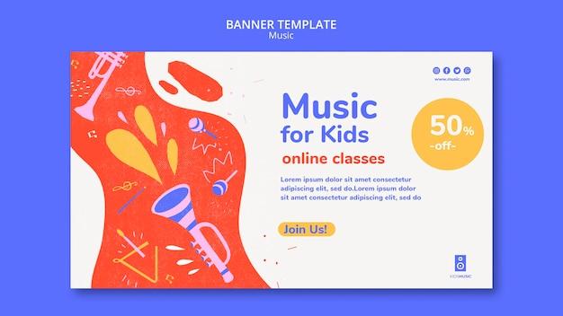 Modello di banner per piattaforma musicale per bambini