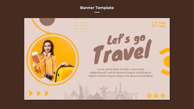 Modello di banner per viaggiare tempo di avventura
