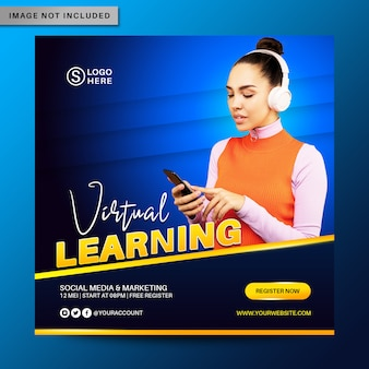 Modello di banner post di social media di apprendimento virtuale