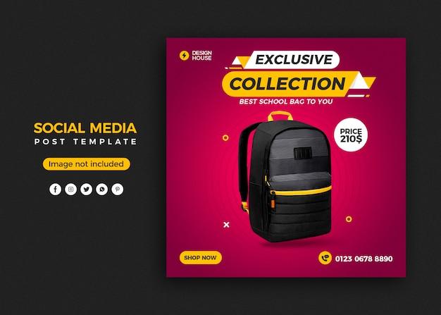 Modello di banner post sui social media per la vendita di borse