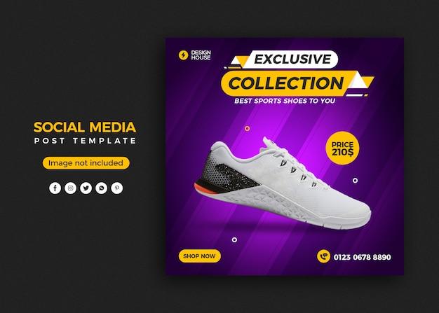 Modello di banner post sui social media per la vendita di scarpe