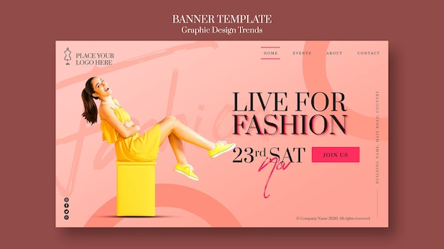 Modello di banner pubblicitario del negozio di moda