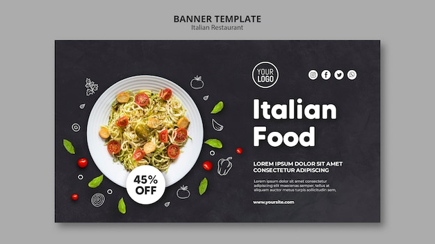 Modello di banner pubblicitario del ristorante italiano