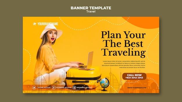 Modello di banner pubblicitario di agenzia di viaggi