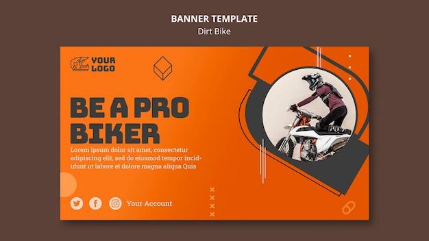 Modello di banner pubblicitario di dirt bike