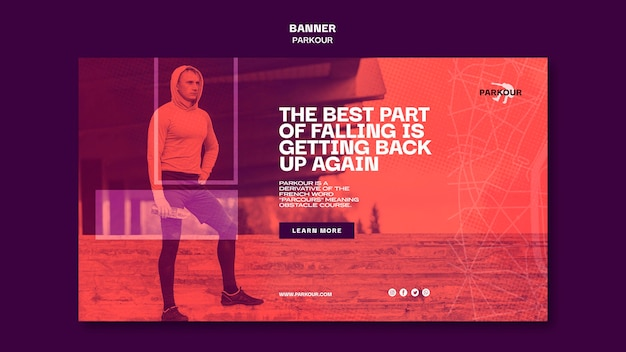 Modello di banner pubblicitario di parkour