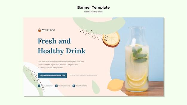 Modello di banner pubblicitario di succo di frutta