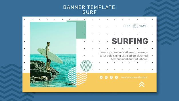 Modello di banner pubblicitario di surf