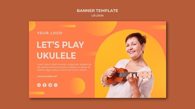 Modello di banner pubblicitario di ukulele