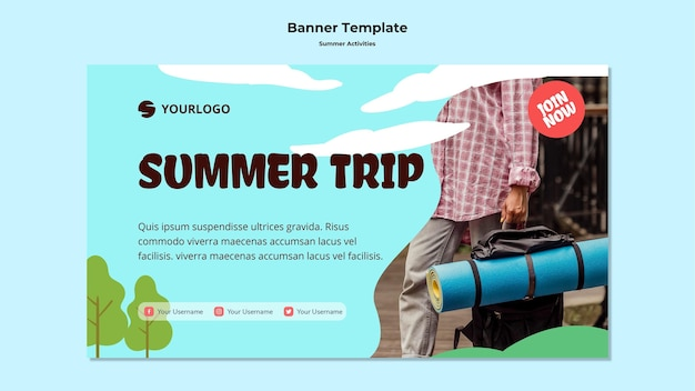 Modello di banner pubblicitario di viaggio estivo