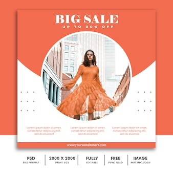 Modello di banner quadrato, bella ragazza moda modello elegante arancione pulito alla moda