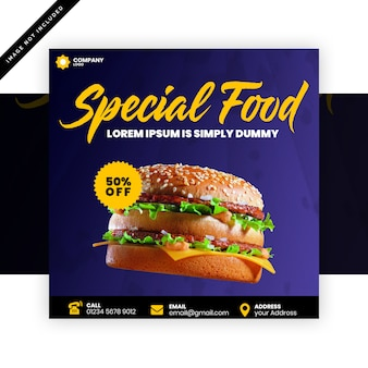 Modello di banner quadrato cibo speciale
