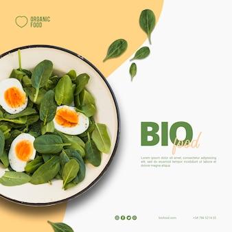 Modello di banner quadrato di cibo biologico