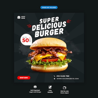 Modello di banner quadrato fast food hamburger social media premium psd
