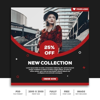 Modello di banner quadrato per instagram, fashion trendy red black sale