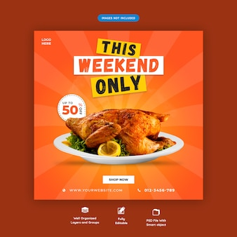 Modello di banner quadrato ristorante premium psd
