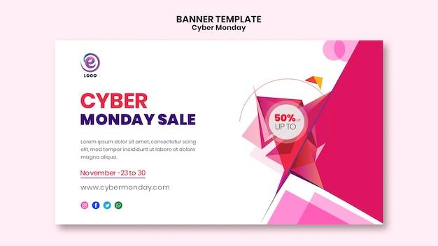 Modello di banner realistico di cyber lunedì