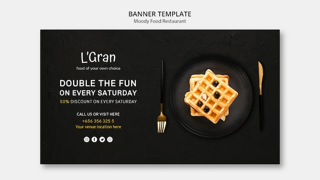 Modello di banner ristorante cibo lunatico