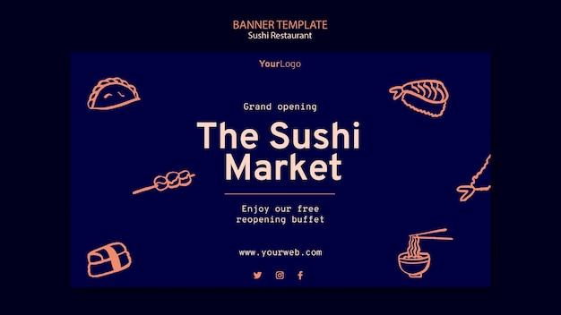 Modello di banner ristorante sushi