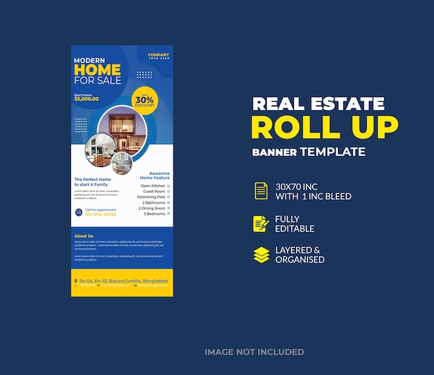 Modello di banner roll up aziendale immobiliare