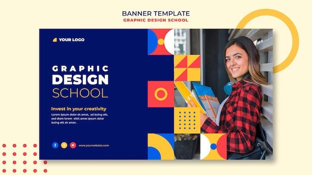 Modello di banner scuola di design grafico