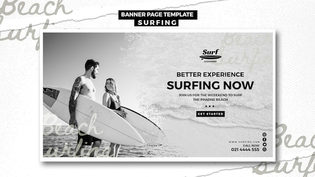 Modello di banner surf