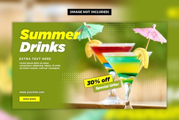 Modello di banner web bevanda estiva