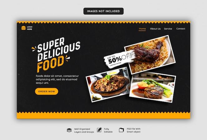 Modello di banner web cibo delizioso
