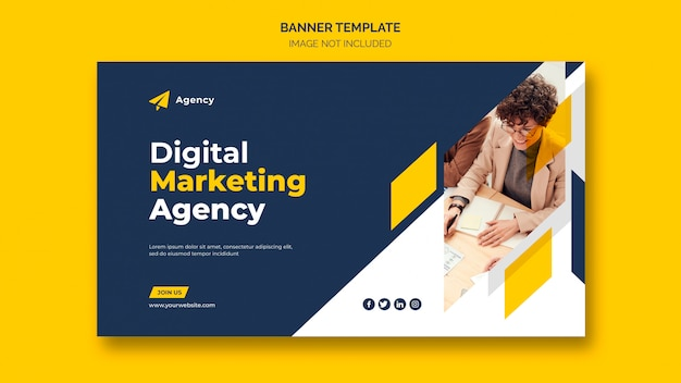 Modello di banner web marketing aziendale digitale